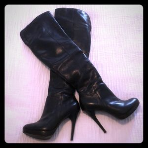Over the knee black faux leather boots